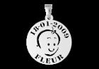 Baby hanger, babyhoofdje met naam en datum
