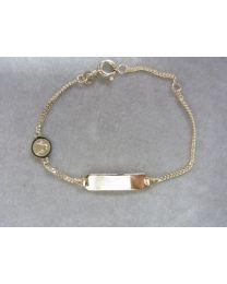 gouden kinder naamplaat graveer armband met bescherm engel