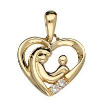 Lovenotes gouden hart hanger moeder met kindje en 2 zirkonia's