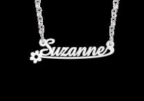 Zilveren naamketting voor kinderen model Suzanne