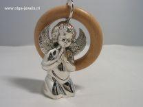 Zilveren rammelaar, engeltje met vleugels.