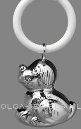 Hondje aan ring, zilveren rammelaar