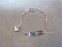 Plaat armbandje baby met roze hartje Naam armband