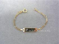 Figaro 11-13 cm naamplaat armbandje met hartje. Goud.