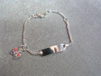 Plaat armbandje baby met roze / paars vlindertje