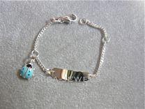 Plaat armbandje met kever blauw 11 tot 13 cm