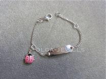 Plaat armbandje met kever roze 11 tot 13 cm