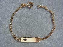 9 karaat kinder naam armbandje figaro schakeltje met hartje 11 tot 13 cm.