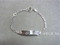 Plaat armbandje figaro schakeltje 11 tot 13 cm.