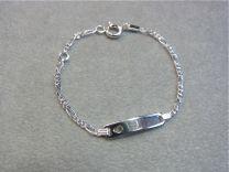 Plaat armbandje figaro schakeltje 11 tot 13 cm met hartje