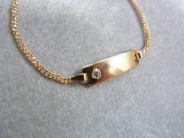 Baby naamplaat armbandje met zirkonia 9 tot 11 cm