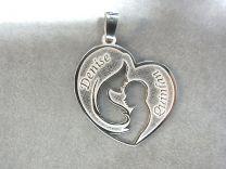 Echt zilveren hanger met moeder en kindje. Model hart nr 1