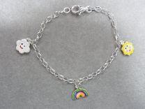 Lilly zilveren bedelarmbandje met regenboog en gekleurde wolkjes.