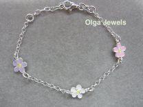 Lilly. Zilveren armbandje met pastelkleurige edelweiss bloempjes.