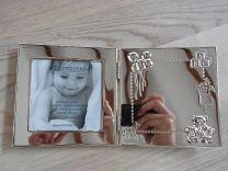 Verzilverde geboorte fotolijst met plaats voor het graveren van geboorte info.