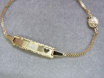 Gouden kinder / peuter graveer naamarmband bescherm engeltje. 12 tot 14 cm.