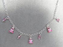 Bedel collier met 3 roze beertjes en kraaltjes