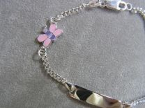 Plaat armbandje met roze/paarse Libelle 13 tot 15 cm