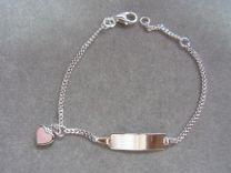 Plaat armbandje met roze hartje 13 tot 15 cm