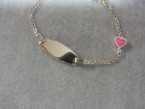 Gouden kinder peuter graveer armband met roze hartje 11 tot 13 cm