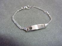 Plaat armbandje zilver met hartje 11 tot 13 cm