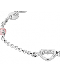 Baby armbandje zilver met hartje en roze steentjes