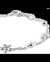 Kinderarmbandje zilver met roze bloem en bolletjes
