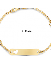 9 krt baby naamplaat armband, hartje 9-11 cm