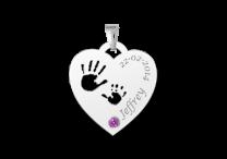 Zilveren hart hanger met handjes, geboortesteen en gravure