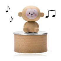 Zilveren muziekdoosje met houten aapje